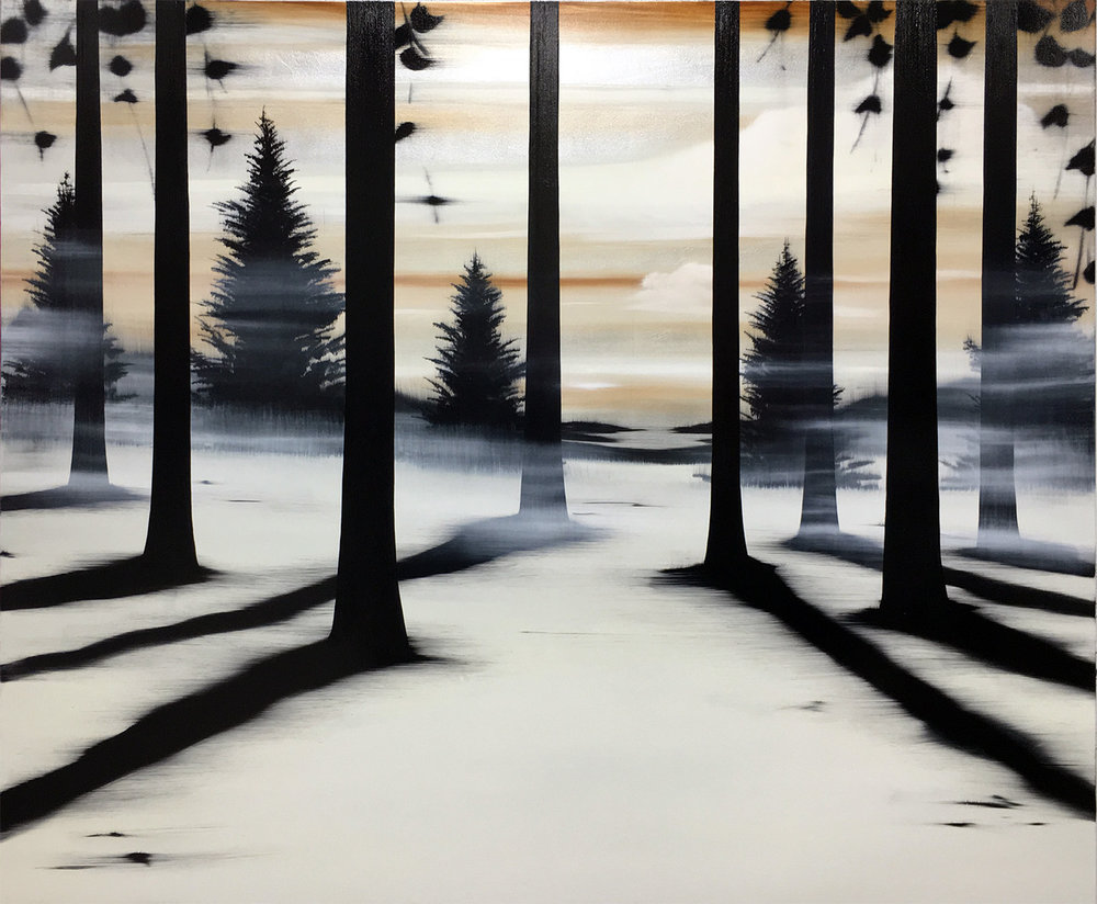 "#16025   "" Winter Escape ""   60 x 72 inches, Oil over silver leaf on canvas"