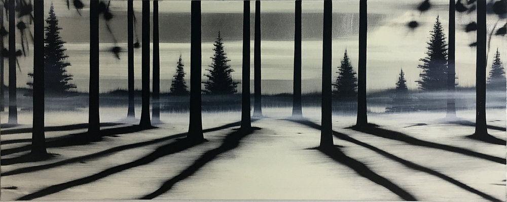 "#16094   "" Horizon ""   24 x 60 inches, Oil over silver leaf on canvas"