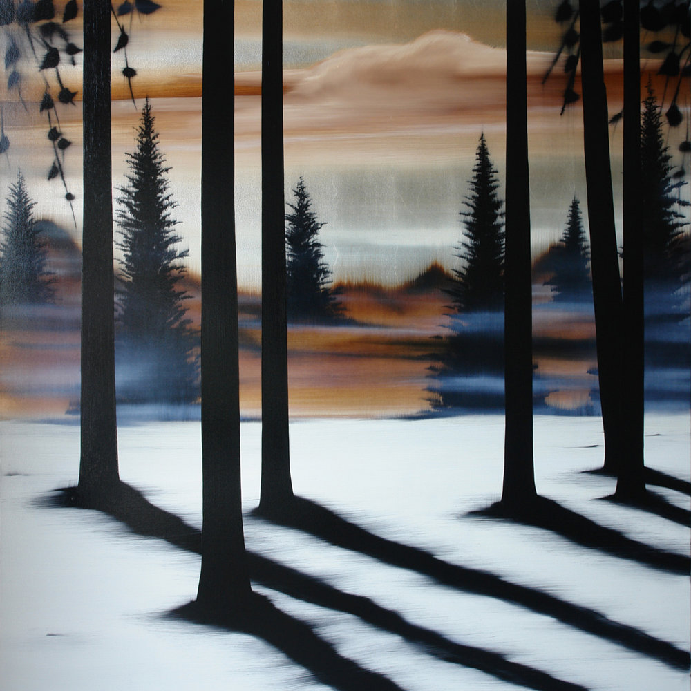 "#16109   "" Highland ""   70 x 70 inches, Oil over silver leaf on canvas"