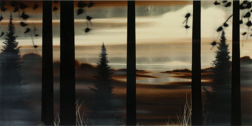 "#16161   "" My Place ""   36 x 72 inches, Oil over silver leaf with resin on panel"