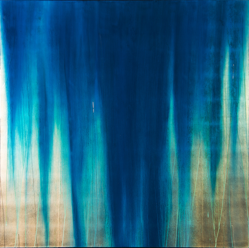 """#14039"""" Waterfall """" 60 x 60 inches, Oil over copper leaf with resin on panel"""