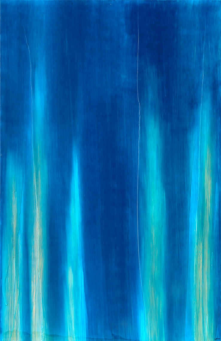 """#14038"""" Waterfall """" 96 x 60 inches, Oil over copper leaf with resin on panel"""