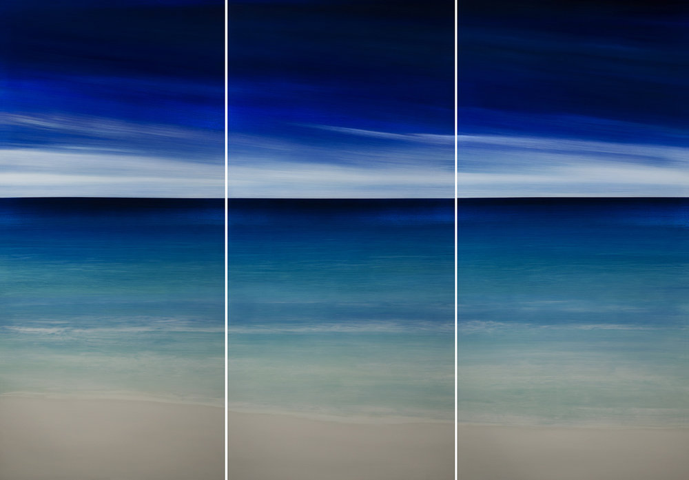 "#17010,11,12   "" My View ""   80 x 36 inches each panel, Oil over silver leaf with resin on panel"