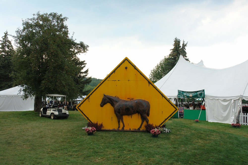 "The sculpture was selected to be at the entrance of "" Walnut Hill Farm Driving Competition "" in Pittsford, NY"