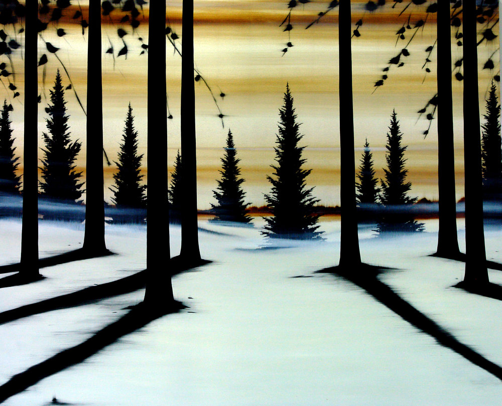 "#10109  ""Landscape""  78x96 inches (1,98 x 2,44 cm), Oil over silver leaf on canvas)"