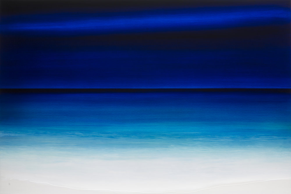 """#17123  """"Early Night"""" 48x72 inches  Oil on Aluminum with resin  Available at  Silver Lining Fine Arts, Miami, FL"""