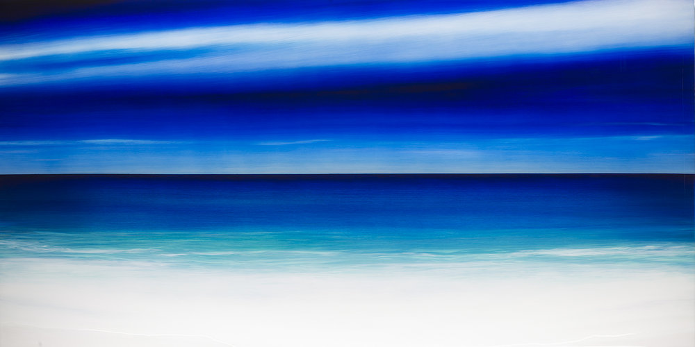 """#17120  """"Acqua"""" 48 x 96 inches, Oil over silver leaf with resin on panel  Available at Silver Lining Fine Arts, Miami, FL"""
