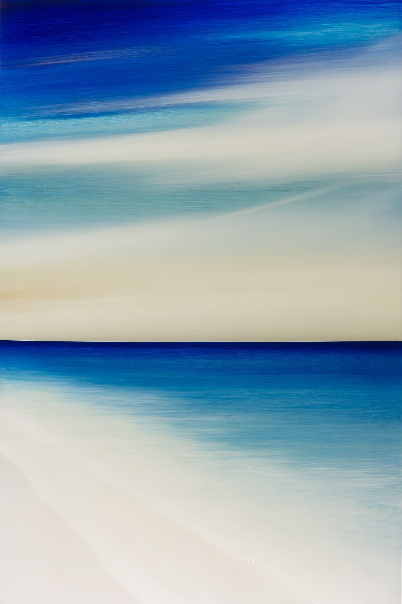 """#17108  """"Acqua"""" 48 x 32 inches, Oil on aluminum with resin"""