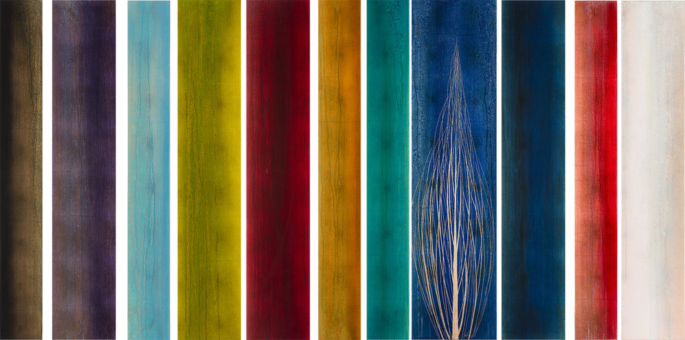 """#17141_ """"Onze"""" 48X87 inches  Oil over copper leaf with resin on eleven panels"""