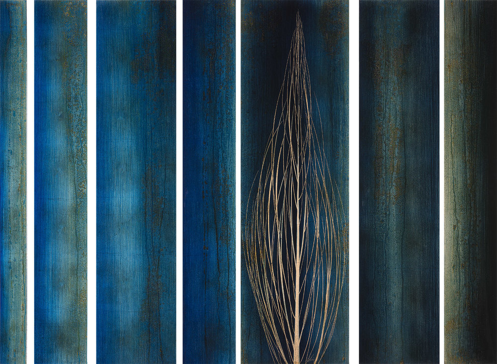 """"""" Cores """"   Original oil paintings over copper or silver leaf with resin."""
