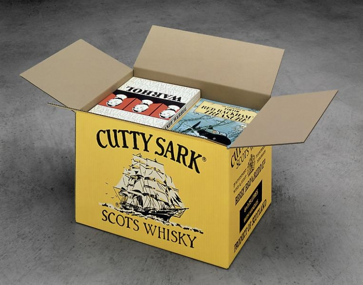 Steve Wolfe    Untitled (Cutty Sark Carton)  , 1992-1993    Carton: Oil and screenprint on archival cardboard with wooden armature   Books: Oil, screenprint, lithography, modeling paste, canvasboard and wood   14 1/2 x 33 x 21 inches