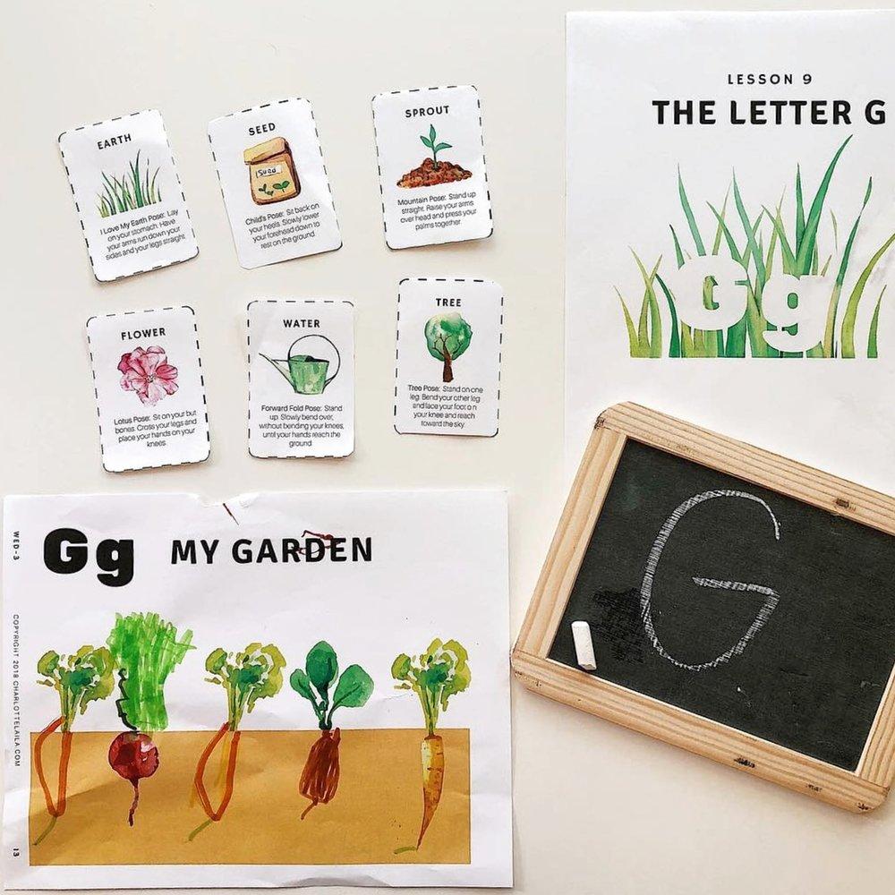 Garden yoga printables -
