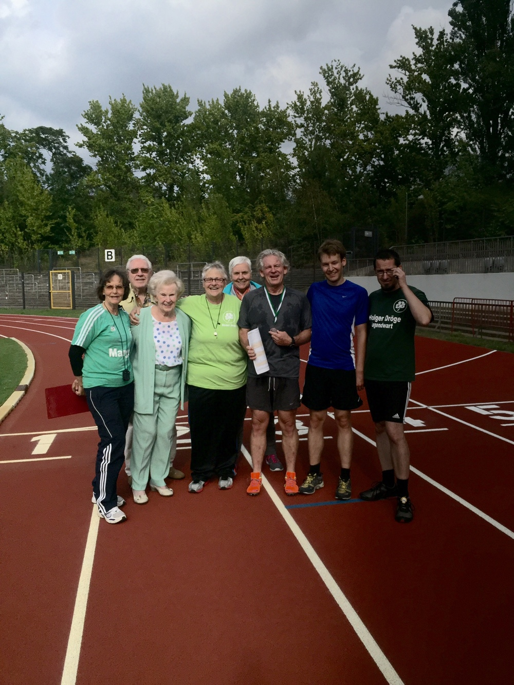 Some of those who came out to the Poststadion in Berlin for the race2walk2016.com 100m and 200m runs.