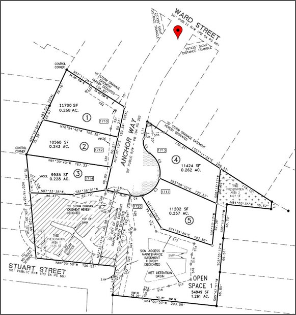 Site Plan - Anchor Way is located between 1929 Ward Street and 2001 Ward Street(GPS 35.982149, -78.928675)Download a Copy of the Site PlanSubject to modification pending final approval