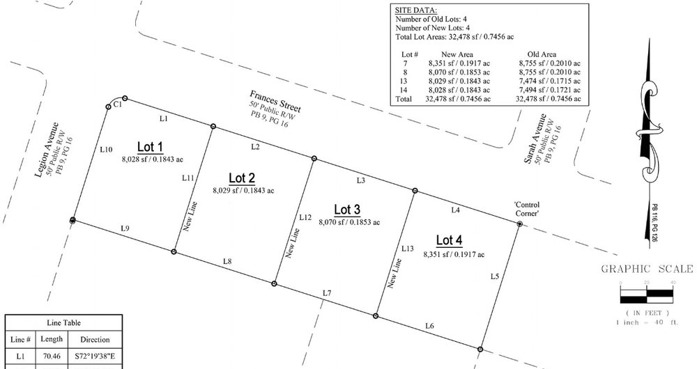 Site Plan - These four lots are located on Francis St. between Legion Ave. and Sarah Ave.Download a Copy of the Site Plan