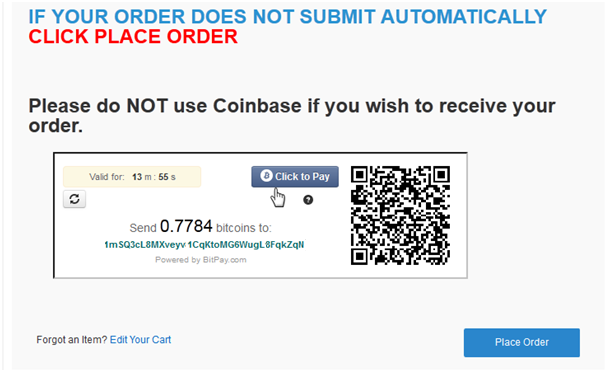 "You are instructed to send X.XXXX bitcoins to a specific bitcoin address. This address is unique to your order. This allows the merchant to verify exactly when a payment is initiated. With these instructions, there are actually 3 different options you can take to send bitcoins depending on what kind of wallet you're using. For information about wallets and bitcoin storage, check out our Bitcoin 101 course on Bitcoin Storage.  Option 1 – Wallet is stored within a software client on your computer – For this option, simply send X.XXXX bitcoins to the bitcoin address listed. Option 2 – Wallet is stored on a mobile app on your phone – For this option, you can scan the QR code and send the proper amount of bitcoins. Option 3 – If you have an account with BitPay, you can click on the ""Click to Pay"" button and follow the instructions Once the transaction is sent out to the bitcoin network, Bitcoinstore.com will recognize it and automatically finalize the order."