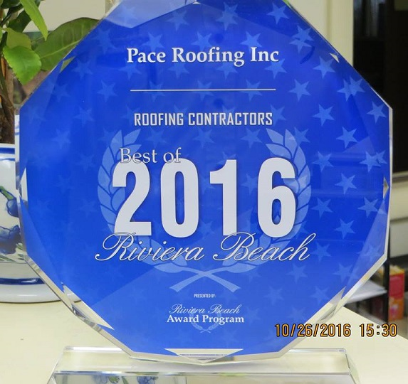 "Pace Roofing Inc Awarded ""Best of 2016 Riviera Beach"" for Roofing Contractors"