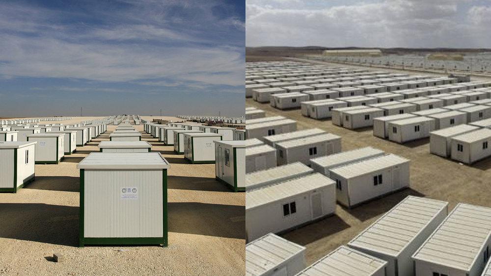 """Donated """"caravans"""" at Zaatari Camp"""