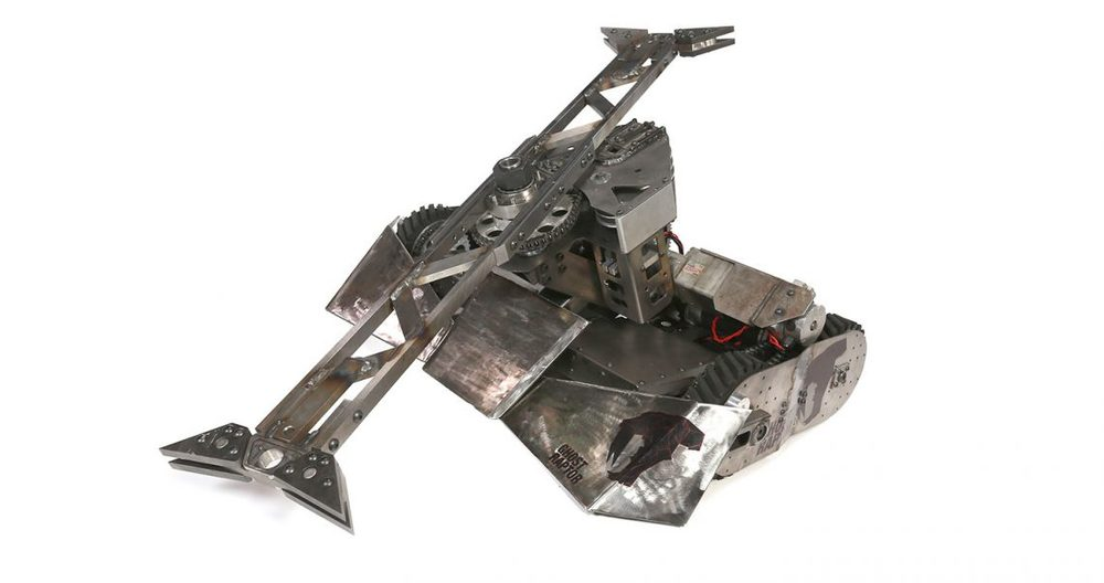 Odds: 5%   Stats: Aggression-77 Control-59 Weapons-48 Defense:-87  Last season, Ghost Raptor was a huge comeback story. When the bar spinner snapped in half with no replacement, driver Chuck Pitzer used this to his advantage to modify the bot each round in order to better match his opponents. The front wedge was especially helpful.Hopefully this season though, we will actually see that horizontal spinner do some more damage.However, this will be the second season in a row that Ghost Raptor has relied on a wild card.