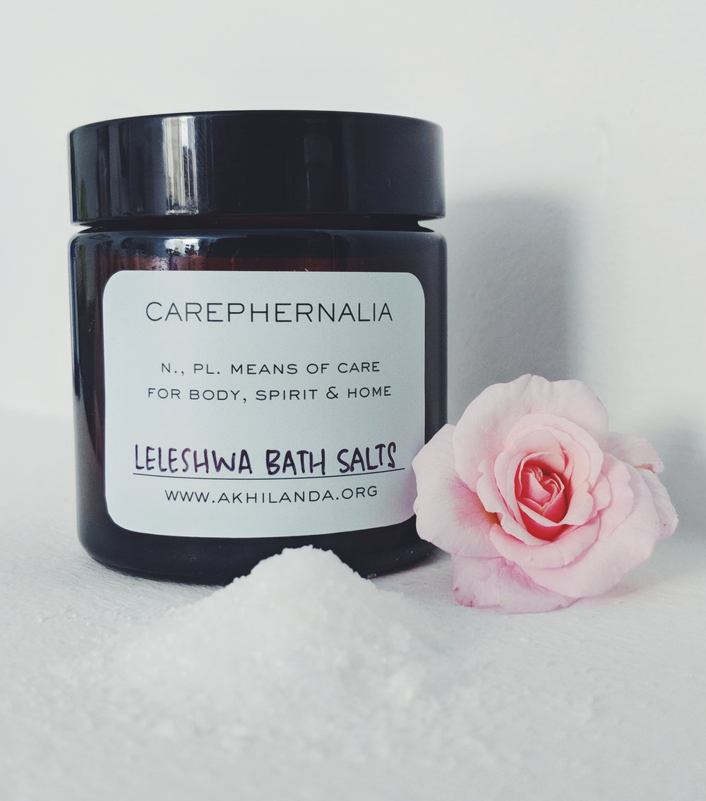 LELESHWA & ROSE PETAL BATH SALTS - Wild-harvested Kenyan Leleshwa is a sweetly purifying essential oil. Epsom salt is blended with rose petals grown and dried in San Francisco for a clearing and soft relaxation experience. $9/4oz glass jar. Request items through the Contact tab.