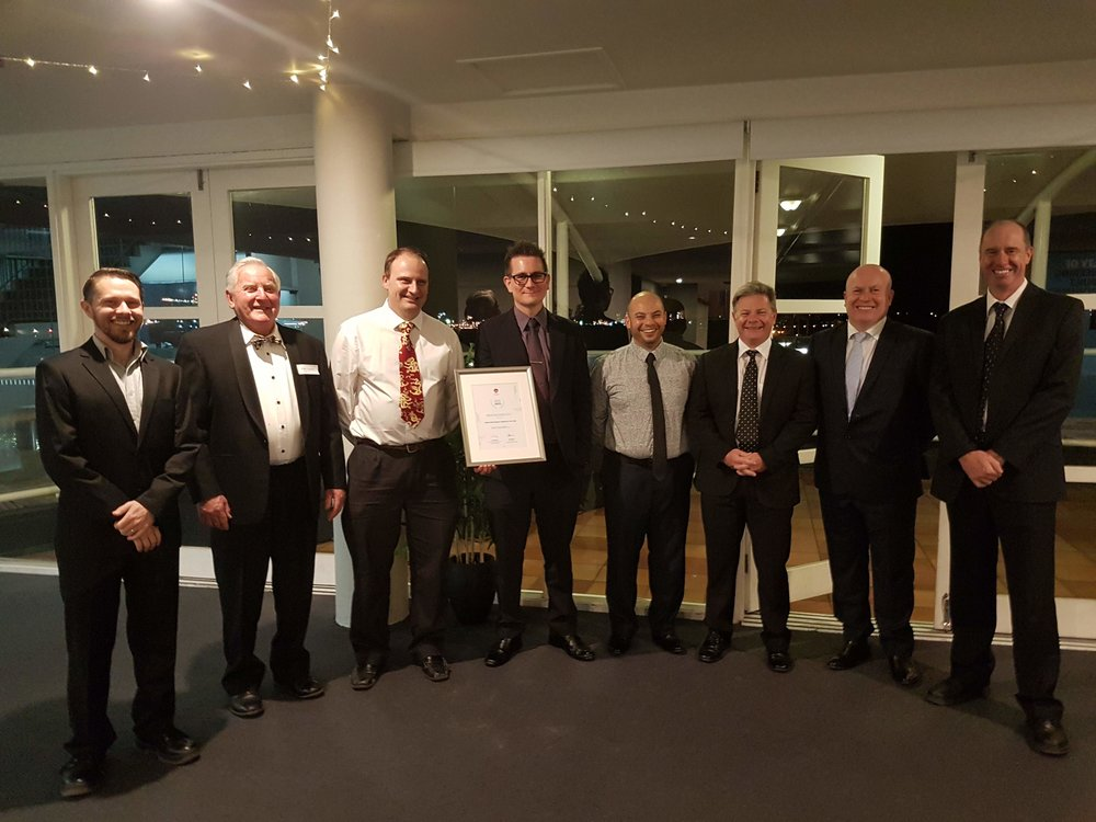 Justin with his engineering colleagues at the Sally Chapman Memorial Dinner