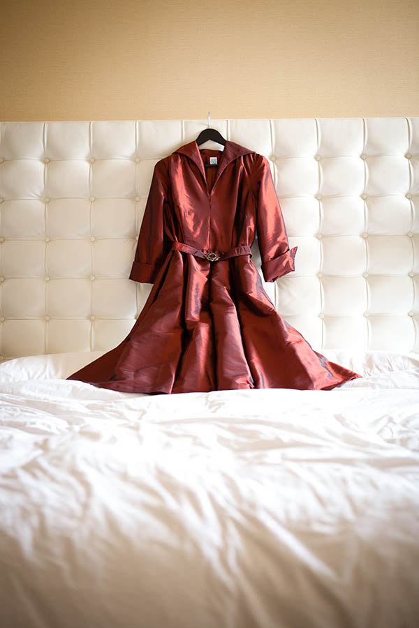 Belted maroon silk wedding dress from 1950s pattern for Big Lebowski-themed wedding featured in The Oregonian
