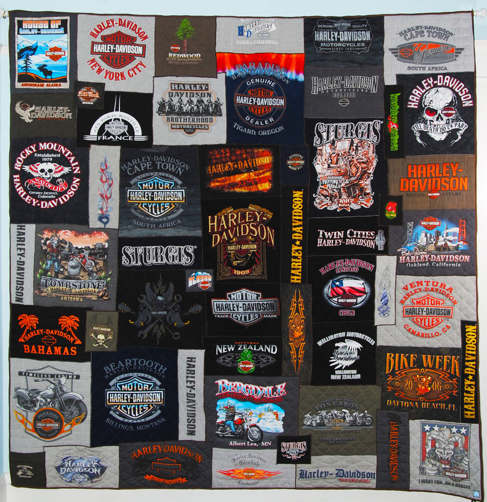 Harley Davidson quilt; 3D piece of art recycled from T-shirt collection