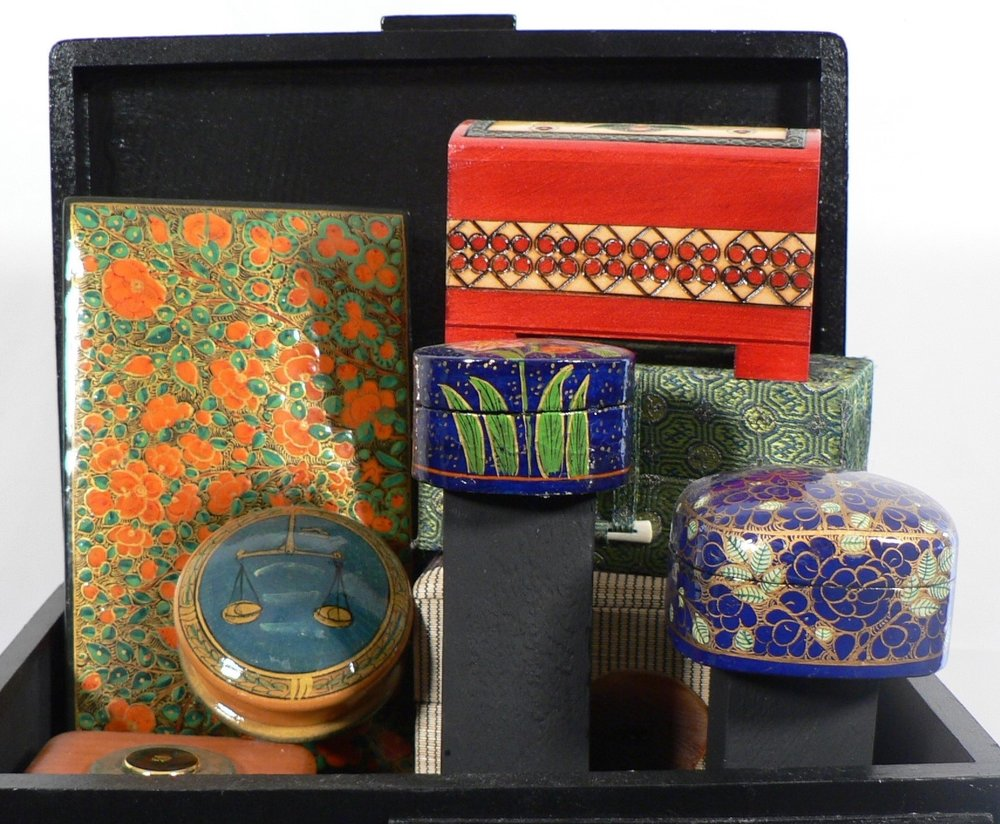 "Inside the Black Box - ""This black box is yours to keep, to stash your troubles away. Just lock it up and call my name and I'll be there always."" ― Cassia Leo (novelist)Materials: Wood boxes; button; acrylic paint; paper. Dimensions: 9""H x 10""W x 8""D. Created: May 2018.Status: For Sale ($200)"