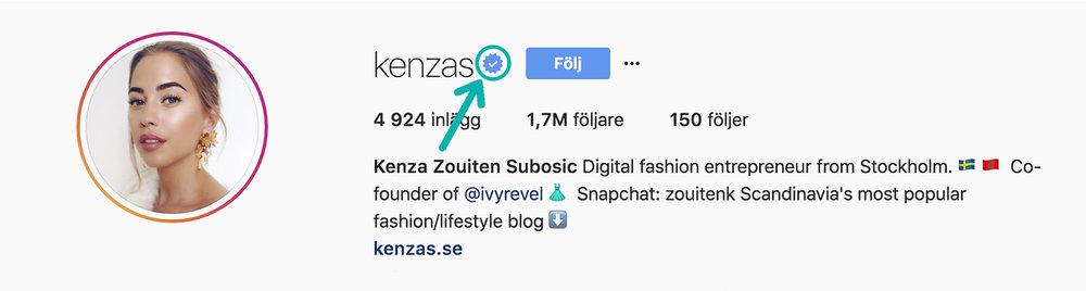 Intill  Kenzas  profil kan du se att det är hon som styr kontot.