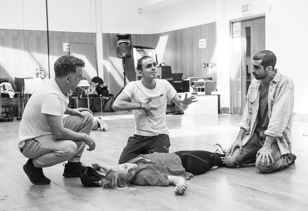 Martin Marquez (Belarius), William Grint (Arviragus), Maddy Hill (Imogen) and Scott Karim (Guiderius)    ©Tristram Kenton