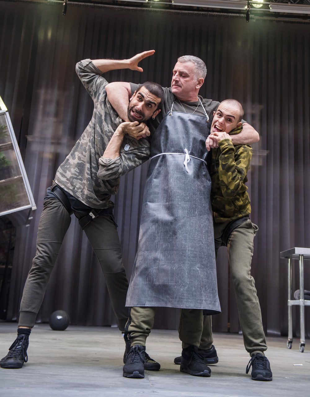 Scott Karim (Guiderius), Martin Marquez (Belarius) and William Grint (Arviragus).    Image ©Tristram Kenton