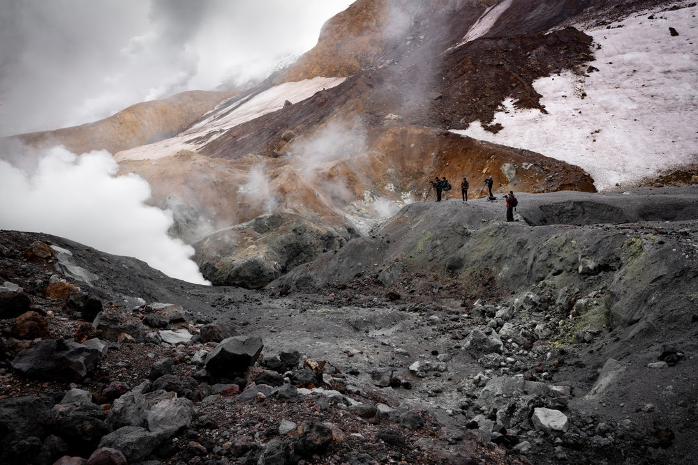 Still Active - Exploring fumeroles in Mutnovsky crater.  On our descent, we were reminded that this is still an active volcano (last eruption was in 2002) as we were forced to scurry through an actual rock fall!