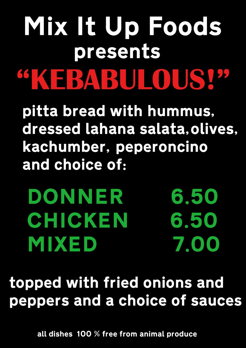 Kebabulous Menu by Mix It Up Foods