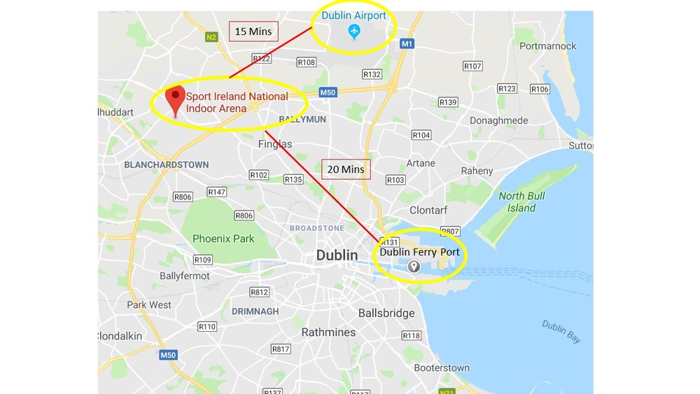 The National Sports Campus is located just 15km from Dublin Airport and Ferry Port and 13km from the heart of Dublin's City Centre.