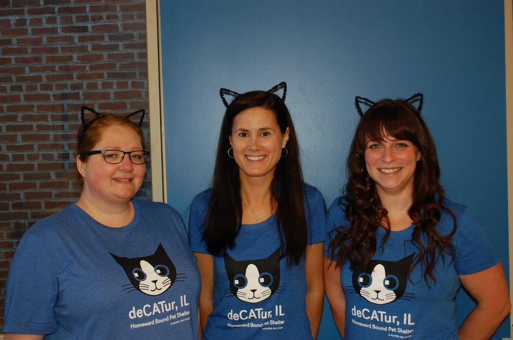 Misty, Jeanette & Erin at 2016's Adopt-a-Cat Month Yoga4Cats.