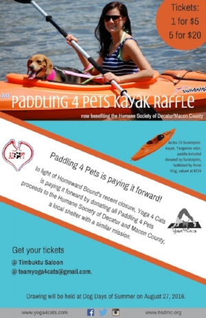 The winner of the Paddling4Pets Kayak raffle was Dennis Barnard.