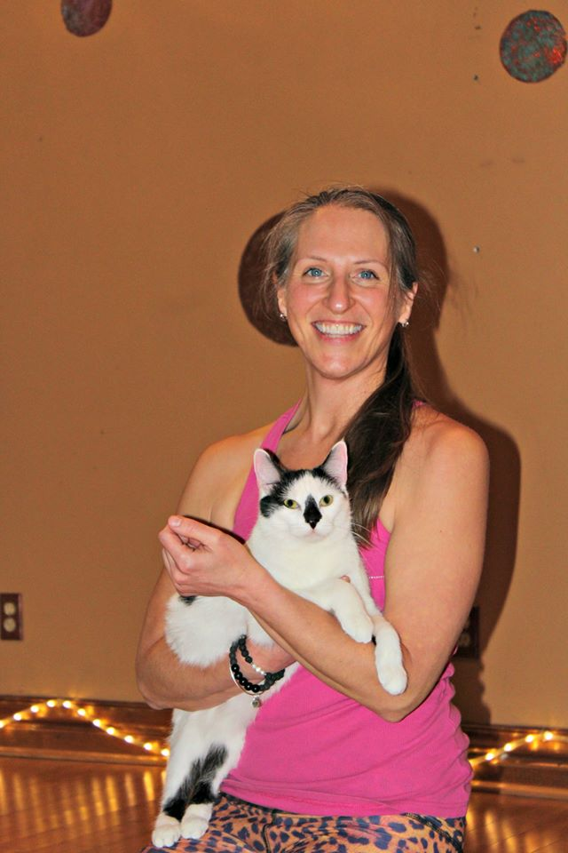Yoga4Cats instructor Adrienne with youga cat Breezy