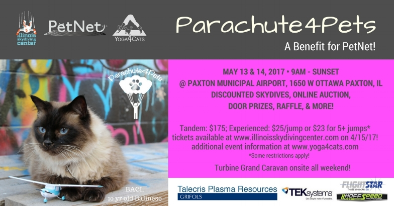 Why not try skydiving at our next event in tandem with Illinois Skydiving Center to benefit PetNet?!  Parachute4Pets will offer discounted skydiving packages for ALL levels, door prizes, online auction, and more...