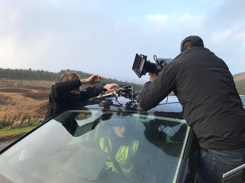 Phil Sansom from PHIX London trusts his suction mounts placing one of the RED Epic's on the roof of the van! (it stuck, don't worry)