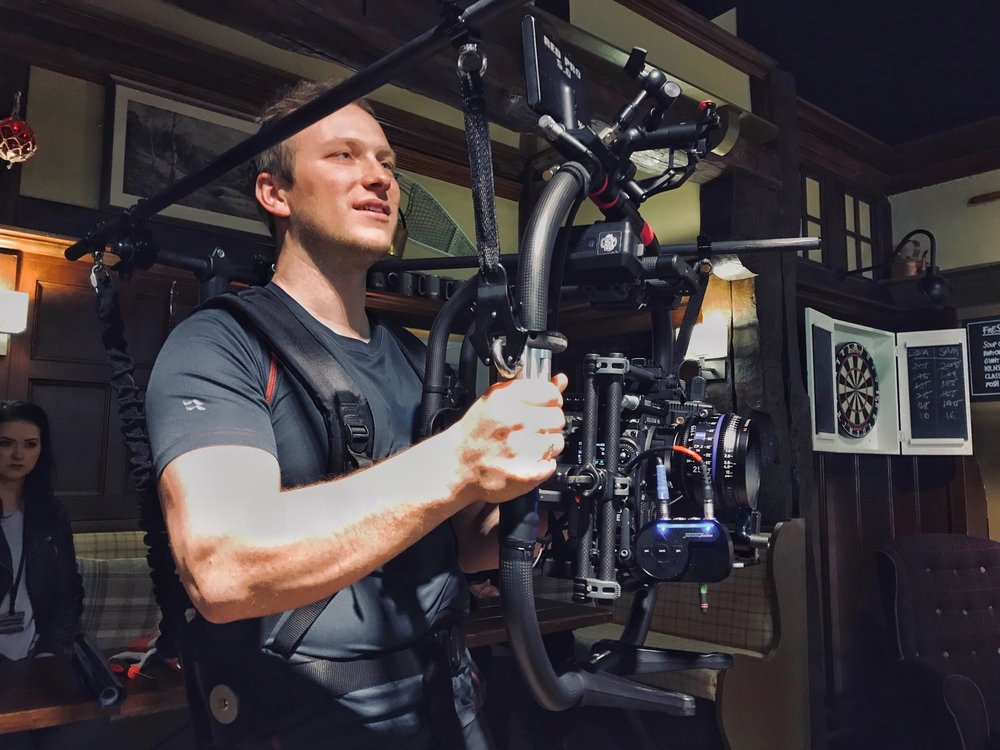 Freefly Systems Movi Pro Gimbal - the newest gimbal to the Freefly range. Power and camera control make this gimbal the most user friendly Movi yet. Our Movi Pro is customised with roll cage offsets to allow us to balance large cine zoom lenses.