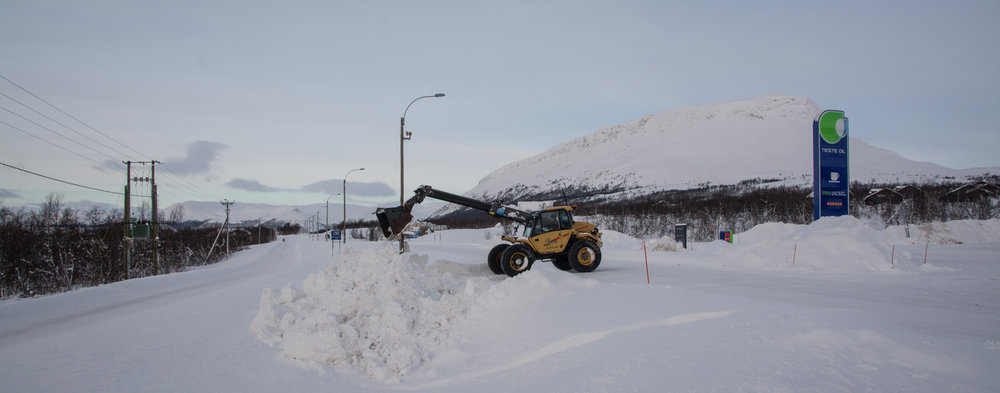 Snow removal is serious business up here. The mountain (or fell) in the background is Saana, one of the highest in Finland and considered sacred by many Sami.