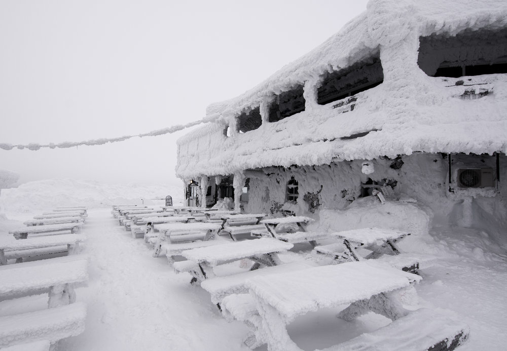 This is a fully functioning bar/restaraunt/warming hut at the top of Levi Ski Resort. Although not the tallest mountain by any means, if you can even call it that, it makes up for it by constantly looking like this.