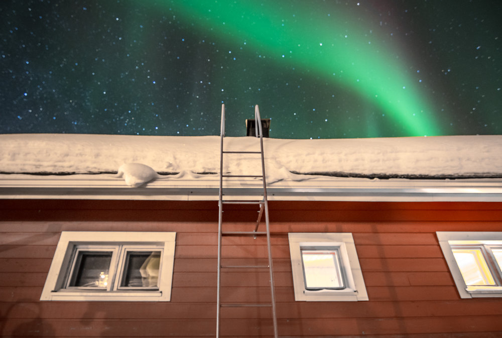 Most houses here have ladders to the roof to make snow removal quicker.