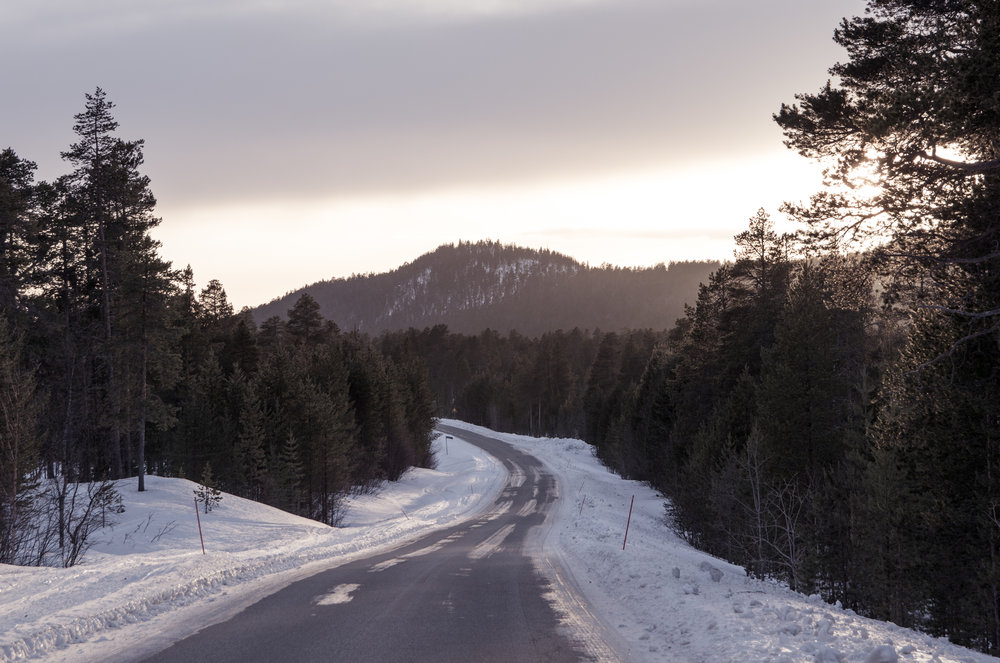 This was somewhere west of Inari, about as remote as you can get in Lapland. The roads were well plowed, and I didn't see a single vehicle for the entire 3 hour drive.
