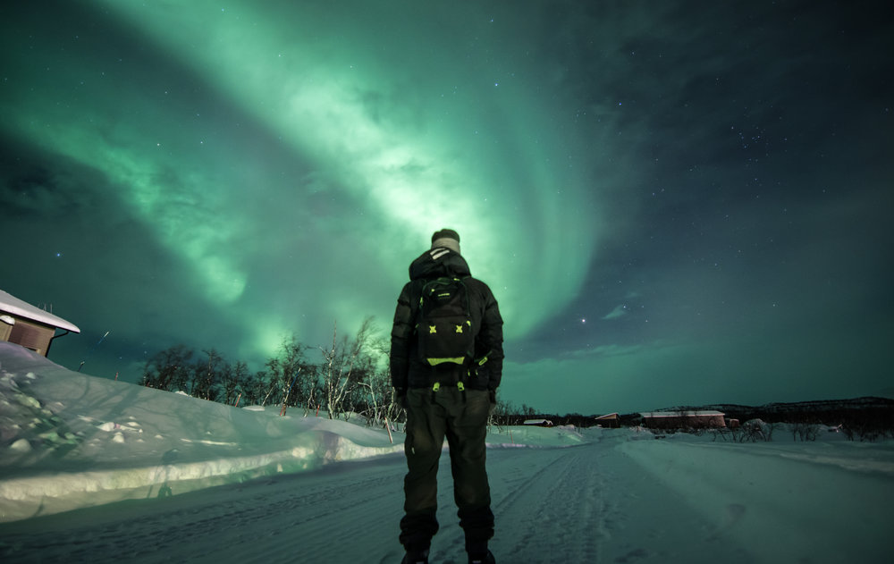 Self-portrait in Kilpisjärvi. First night upon arrival and the whole sky was green.