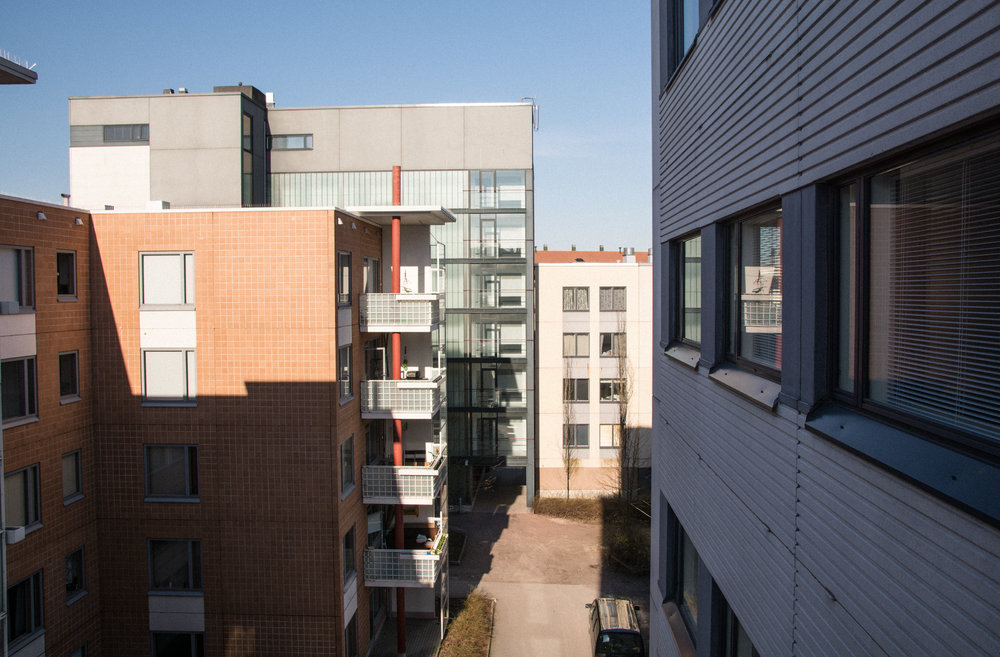 A modern apartment block in a suburb outside of Helsinki.