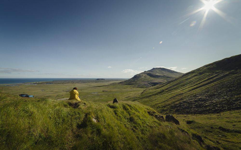 Het uitzicht over de kustvlaktes vanaf Bjarnafoss