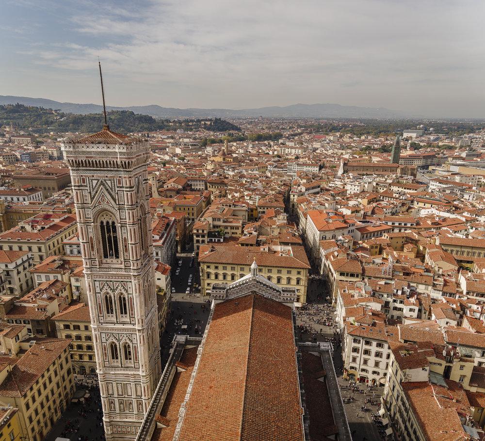 Uitzicht van bovenop de Cattedrale di Santa Maria del Fiore