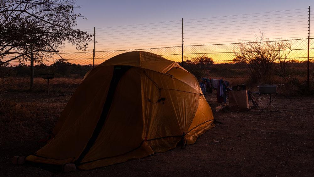 Onze camping set-up. Satara rest camp, Kruger