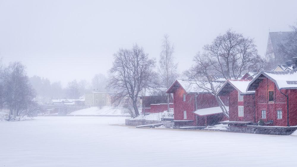 Sneeuwval in Porvoo, Finland